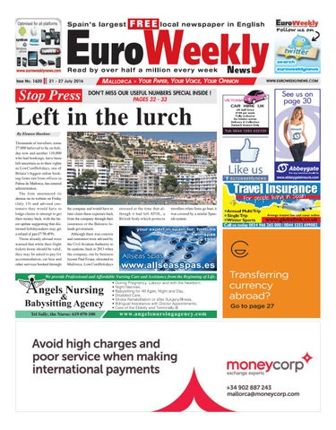 Euro weekly news mallorca 21 27 july 2016 issue 1620 by euro issue no 1620 fandeluxe Gallery