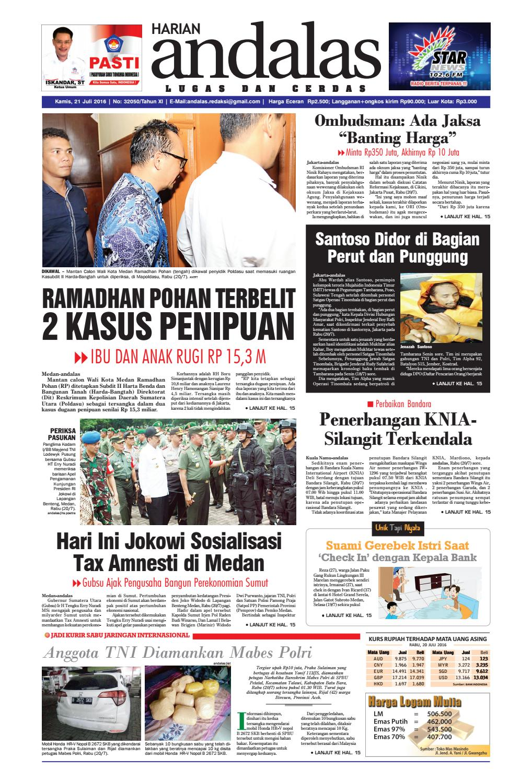 Epaper Andalas Edisi Kamis 21 Juli 2016 By Media Issuu Fcenter Meja Belajar Sd Hk 9004 Sh Jawa Tengah