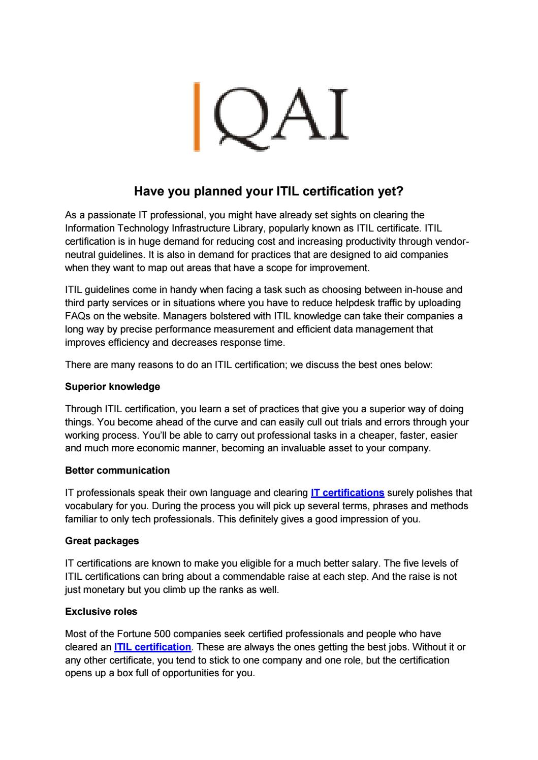 Have you planned your itil certification yet by qai global have you planned your itil certification yet by qai global institute issuu xflitez Image collections