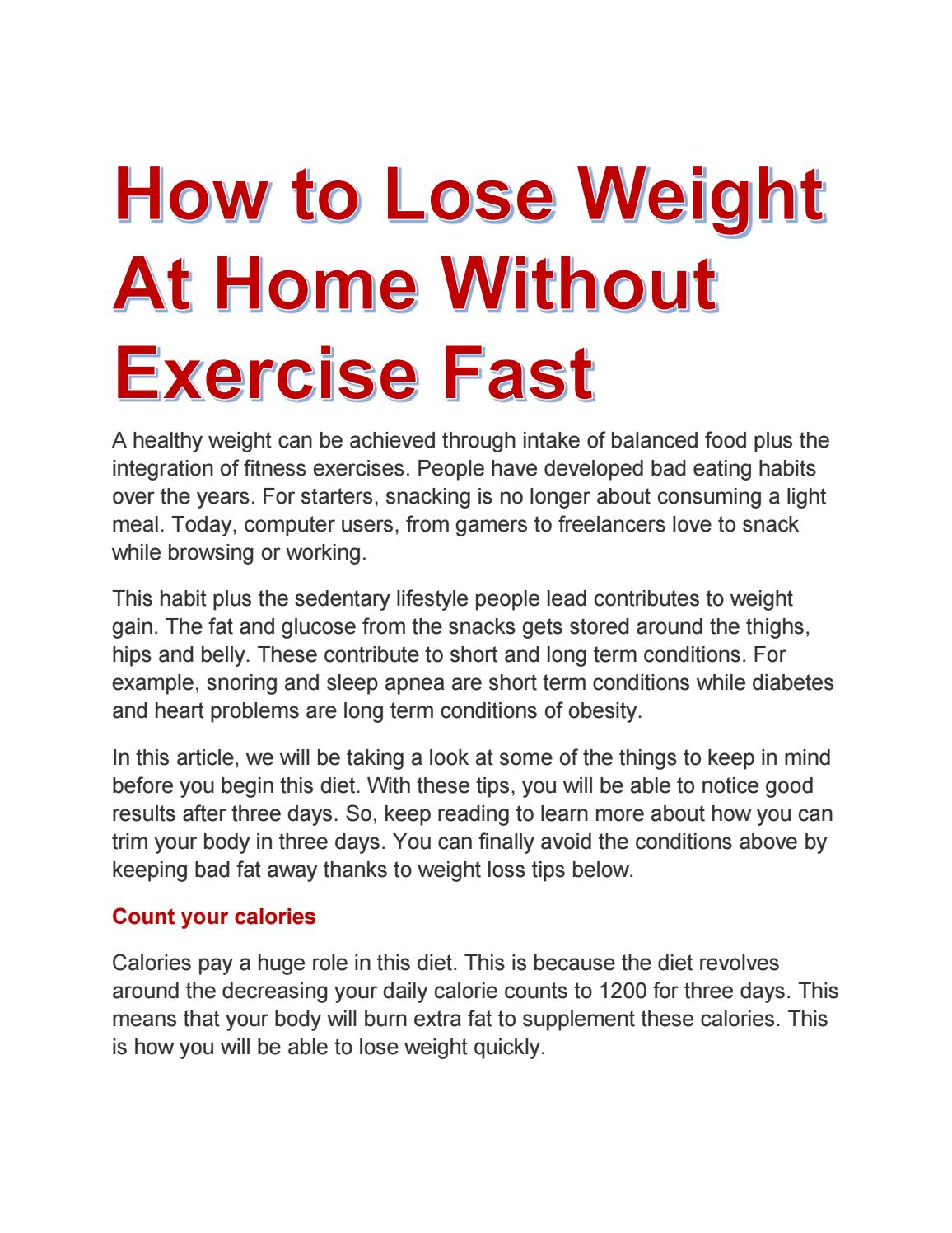 how to lose weight in one week without exercise