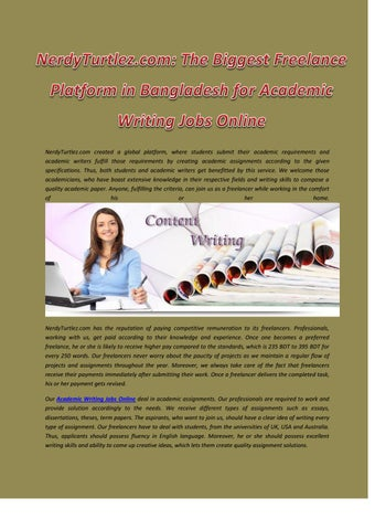academic assignment writing jobs