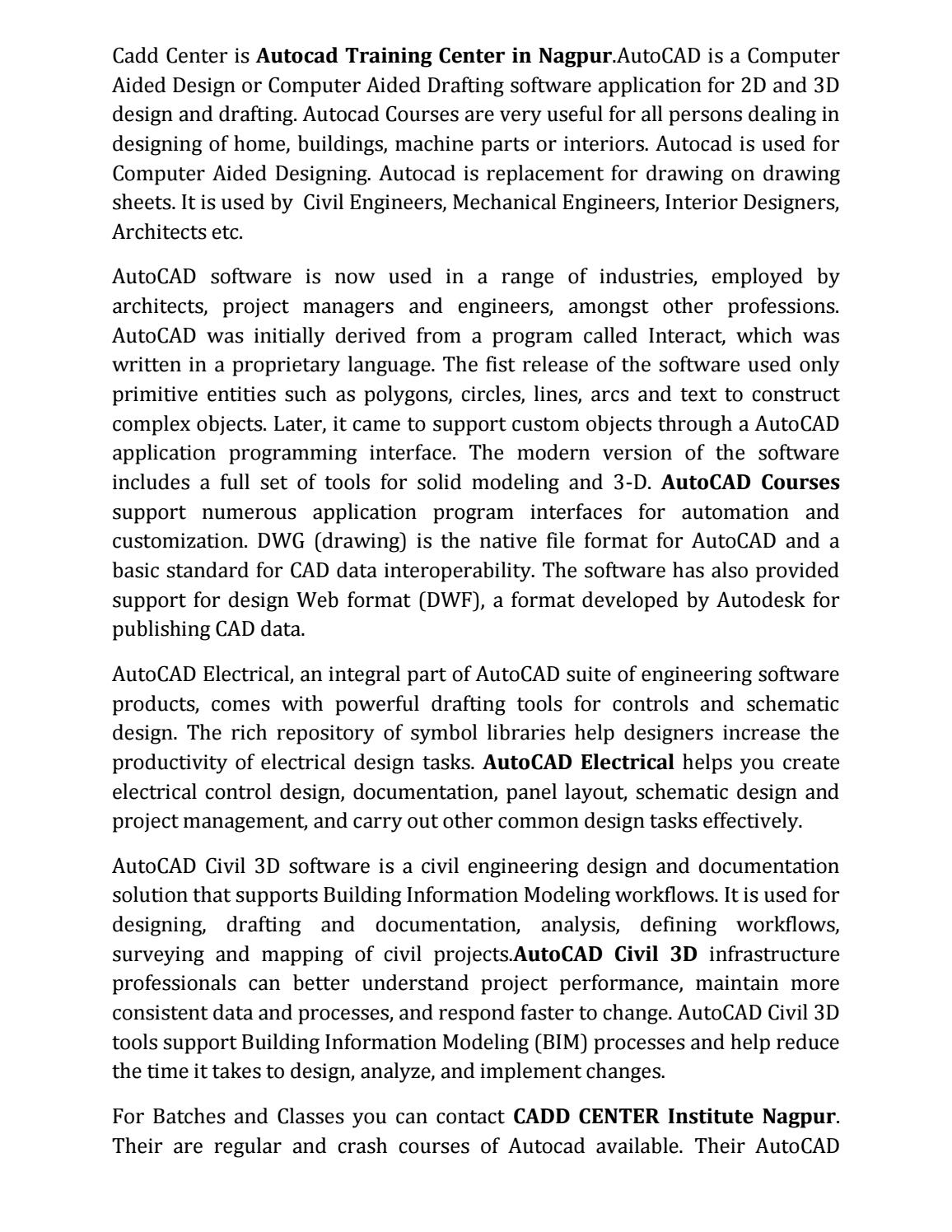 Autocad Training Institute Nagpur By Caddcentrenag Issuu Electrical Schematic Classes