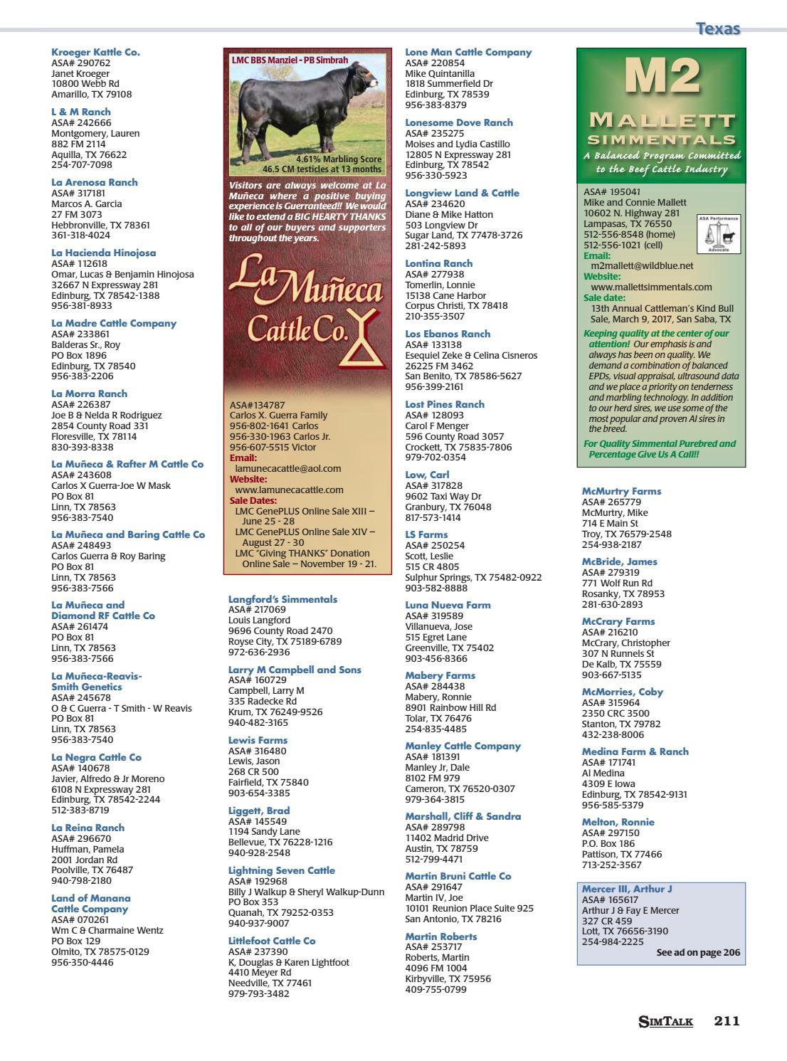 SimTalk 2016 Membership Directory By American Simmental Publication Inc