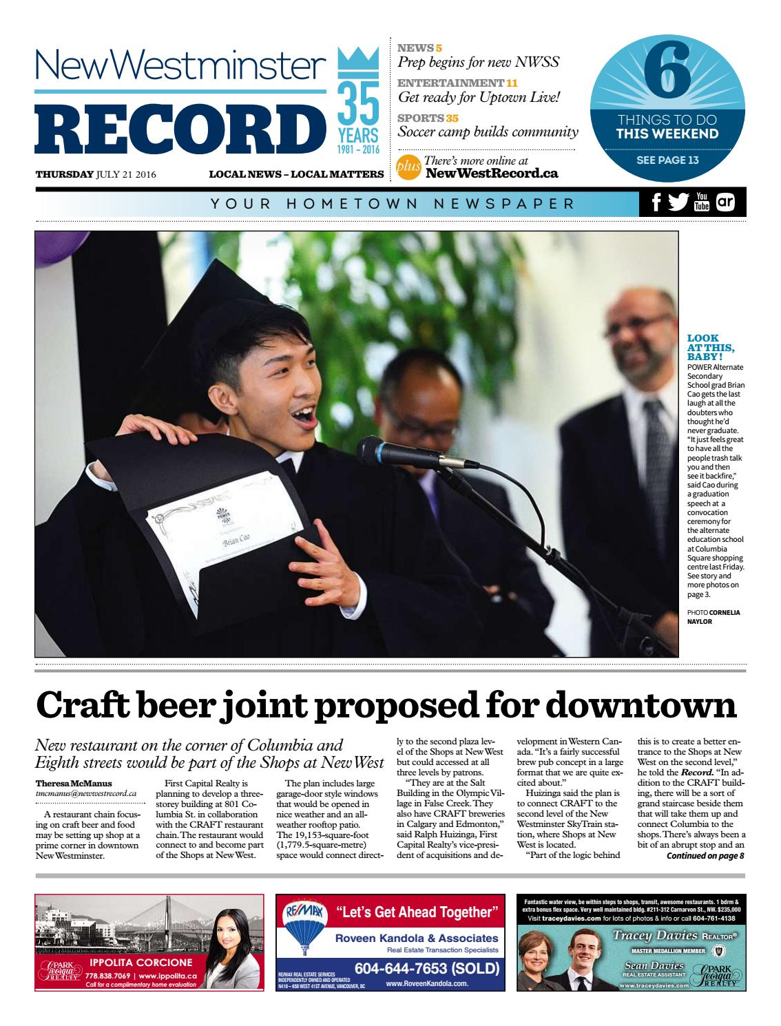 New Westminster Record July 21 2016 by Royal-City-Record - issuu