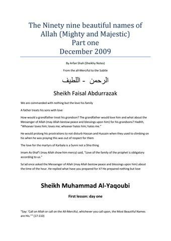 Asma ul Husna part 1 - Lessons by Sayyiduna Sheij Muhammad Al