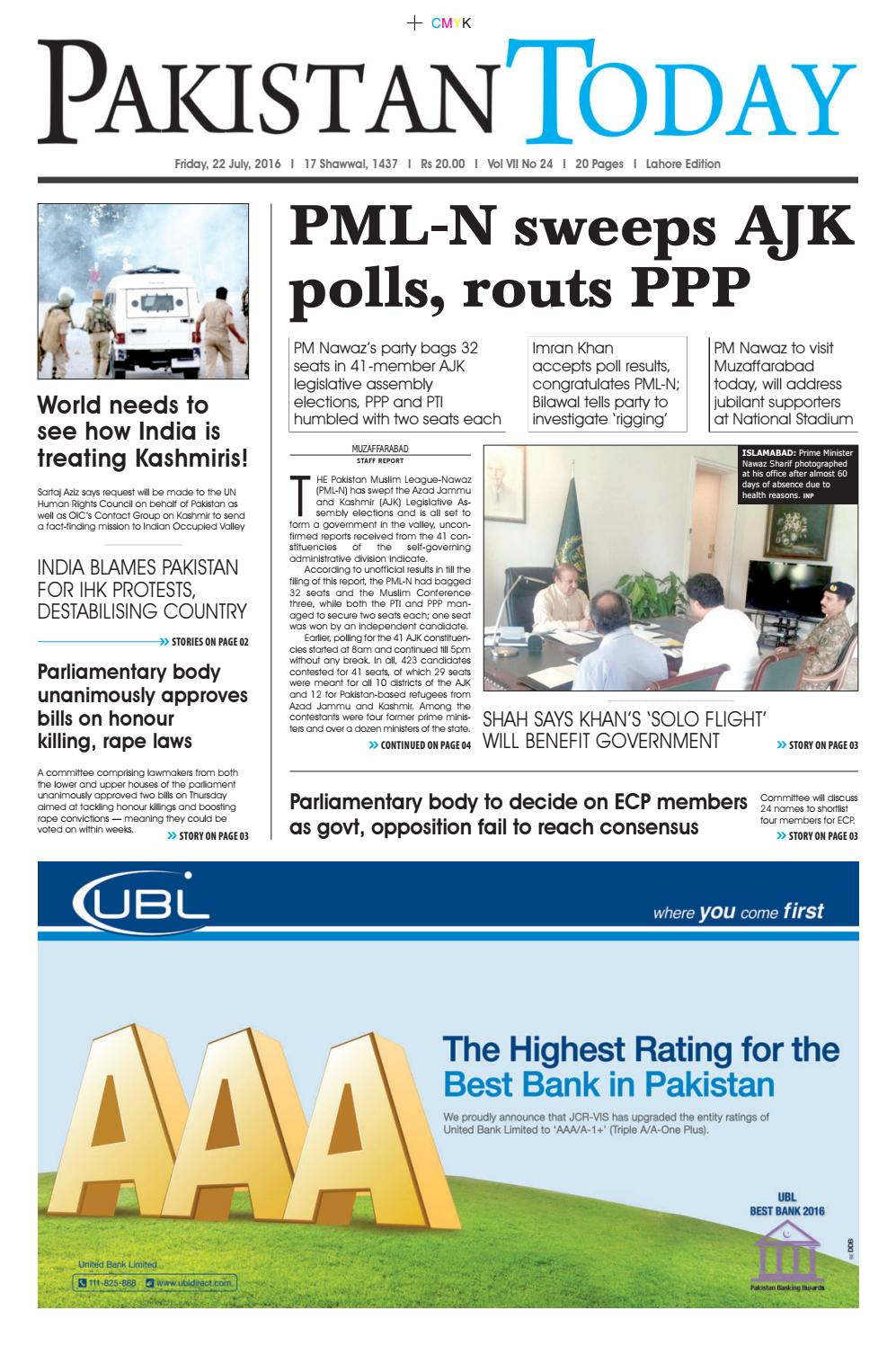 E paper pdf (22 07 2016) lhr by Pakistan Today - issuu