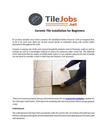 Ceramic Tile Installation For Beginners By Josh Stremer Issuu - Ceramic tile installer jobs