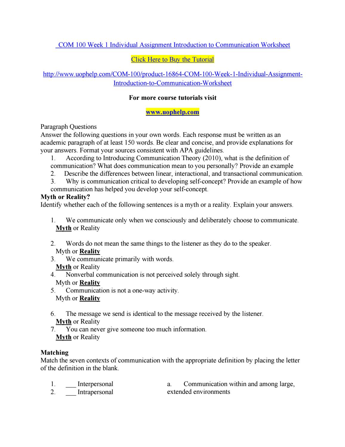 com 100 introduction to communication worksheet Find 100% verified bscom 100 week 1 introduction to communication worksheet for university of phoenix students at assignmentehelpcom.