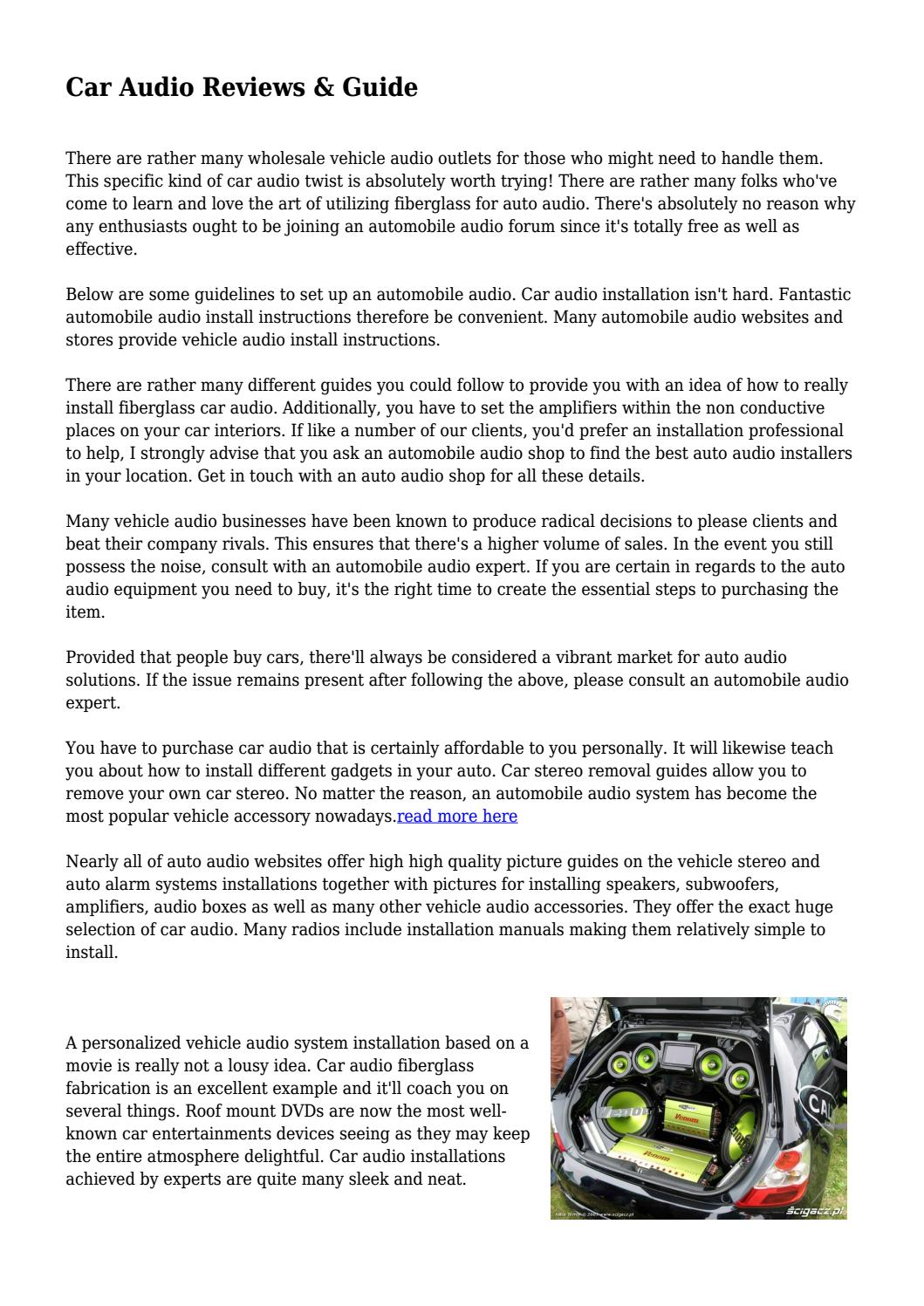Car Audio Reviews & Guide by caraudioreviewz3 - issuu