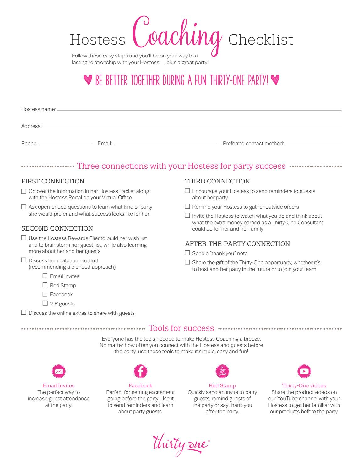 Hostess Coaching Checklist Fall Winter 2016 By Nicolesnyder Issuu