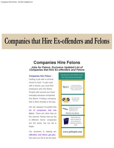Companies hire felons get this updated list by Eric Mayo - issuu