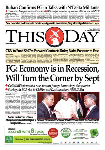 Friday 22nd July 2016 By THISDAY Newspapers Ltd