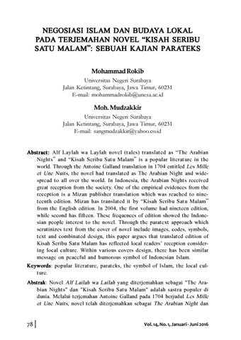 Negosiasi Islam Dan Budaya Lokal Pada Terjemahan Novel Kisah Seribu