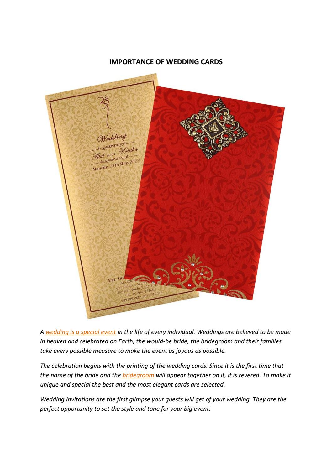 Importance of wedding cards by weddingcards - issuu