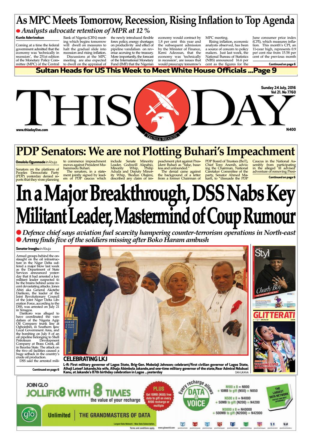 Sunday 24th July 2016 By THISDAY Newspapers Ltd   Issuu