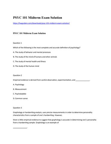 Psyc  Midterm Exam Solution By Sandrawillis  Issuu