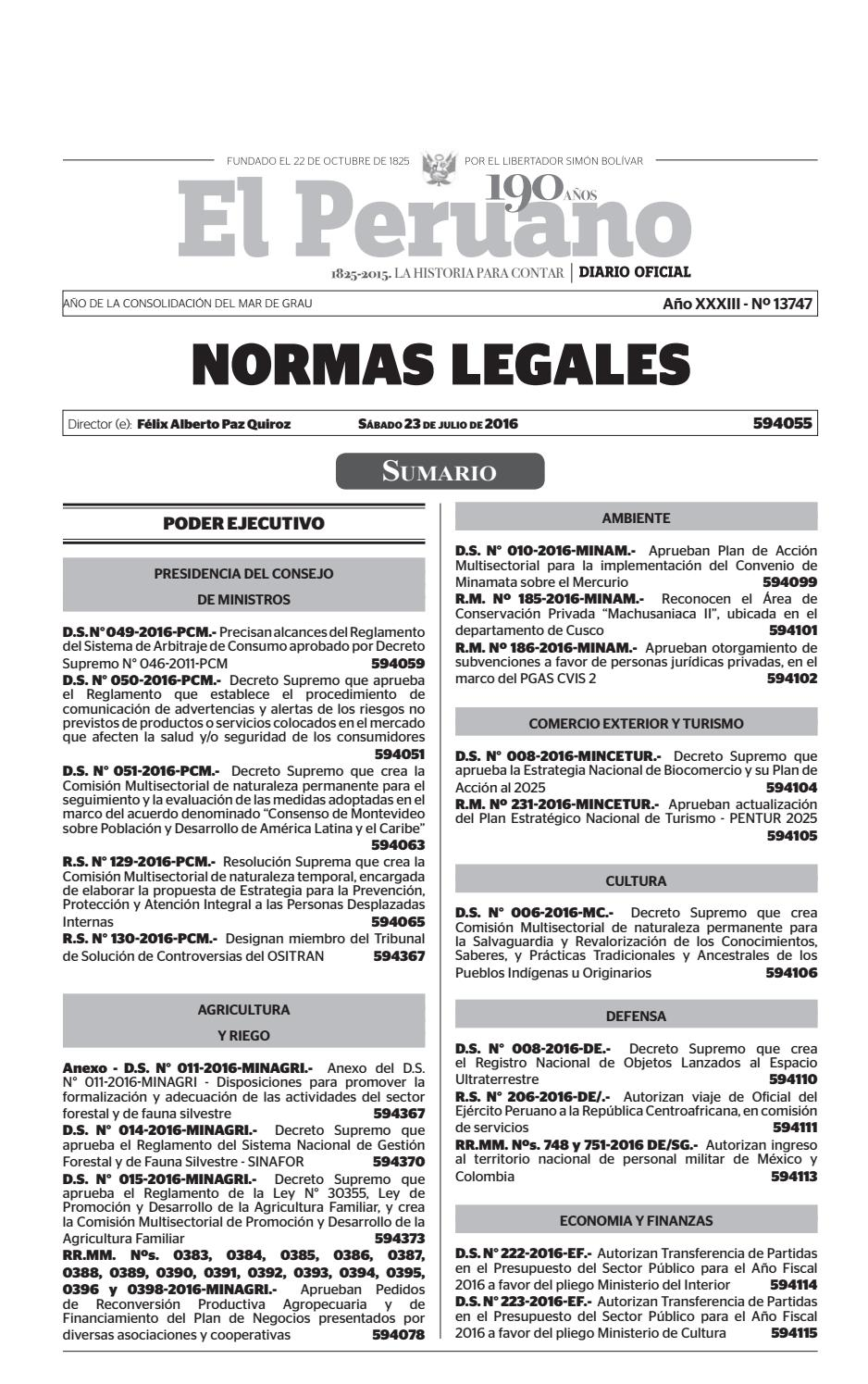 Normas Legales 23 07 2016 by Gaceta Juridica - issuu