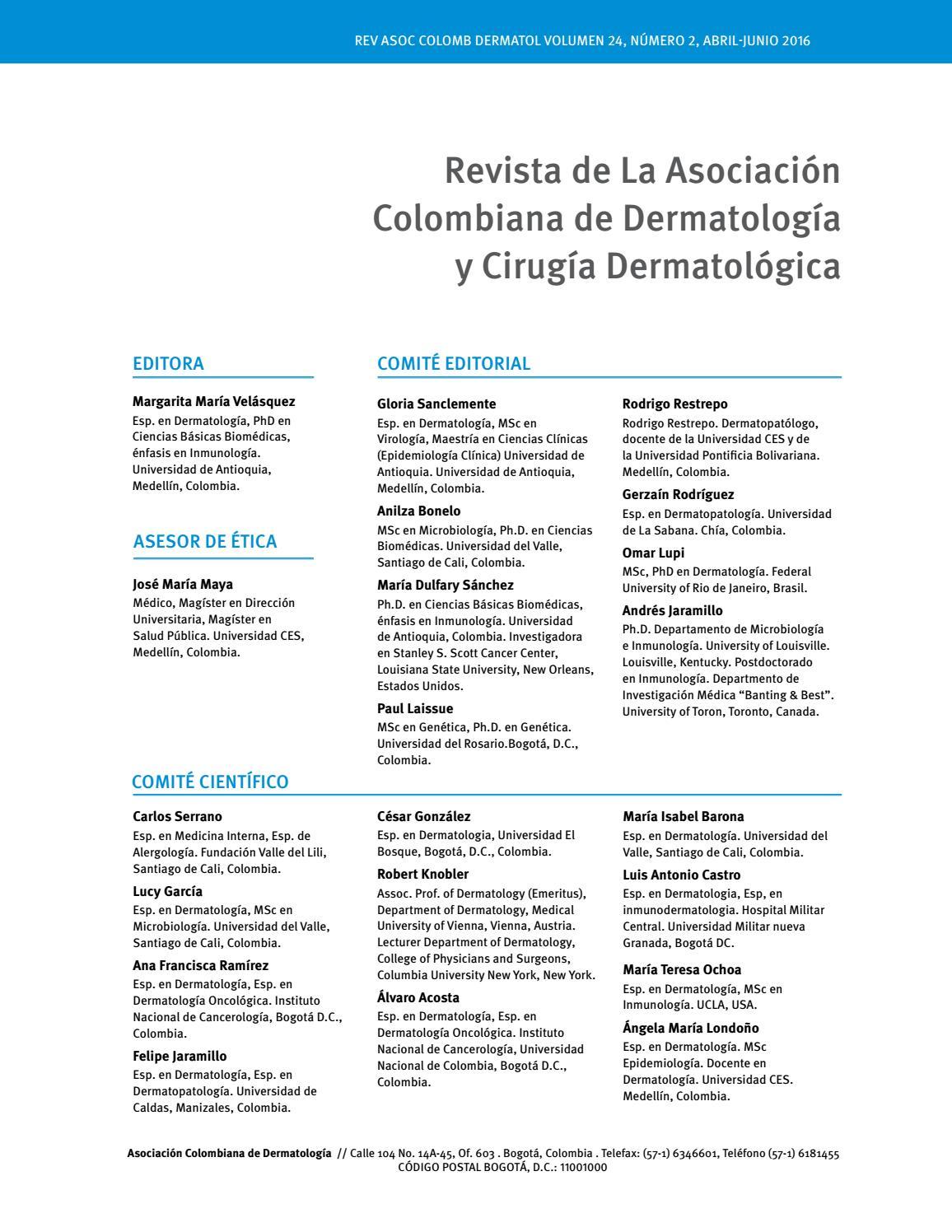 Volumen 24, número 2 junio agosto 2016 by revista asocolderma - issuu