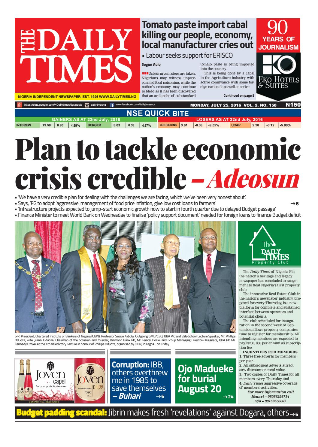 Dtn 25 7 16 by Daily Times of Nigeria - issuu