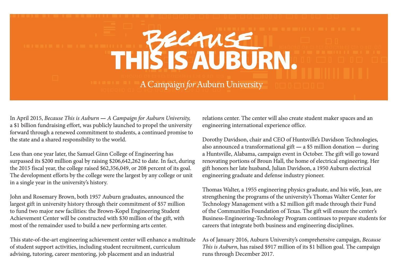 Auburn Engineering 2015 annual report by Auburn University