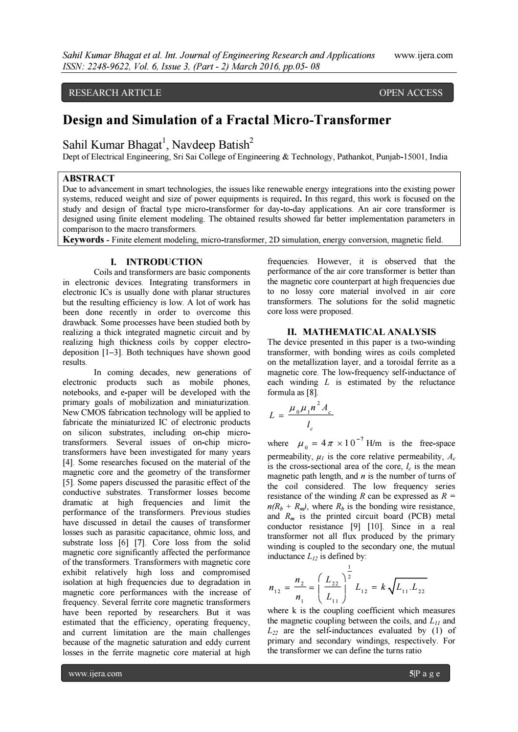 Design and Simulation of a Fractal Micro-Transformer by ijera editor