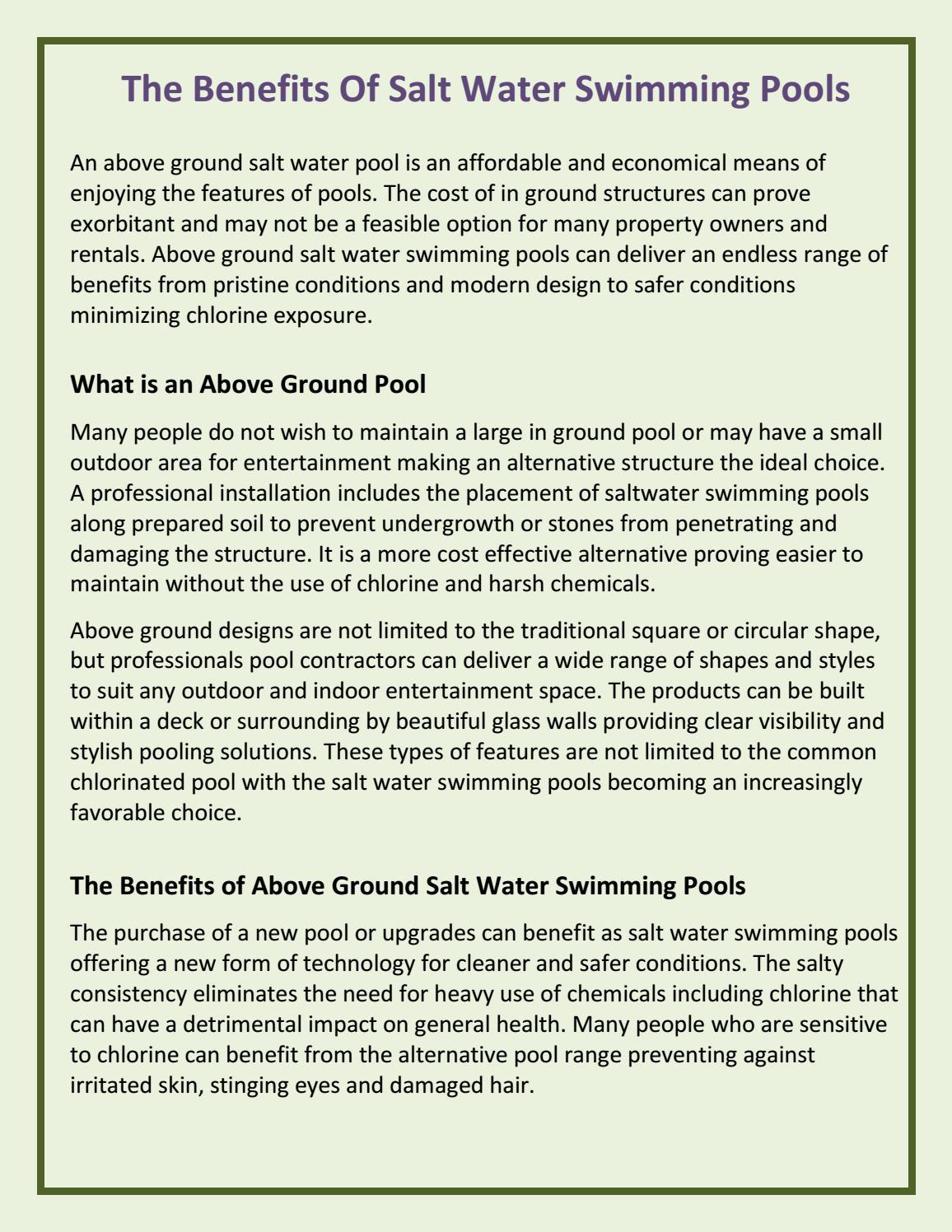 The Benefits Of Salt Water Swimming Pools by RileyGwynne - issuu