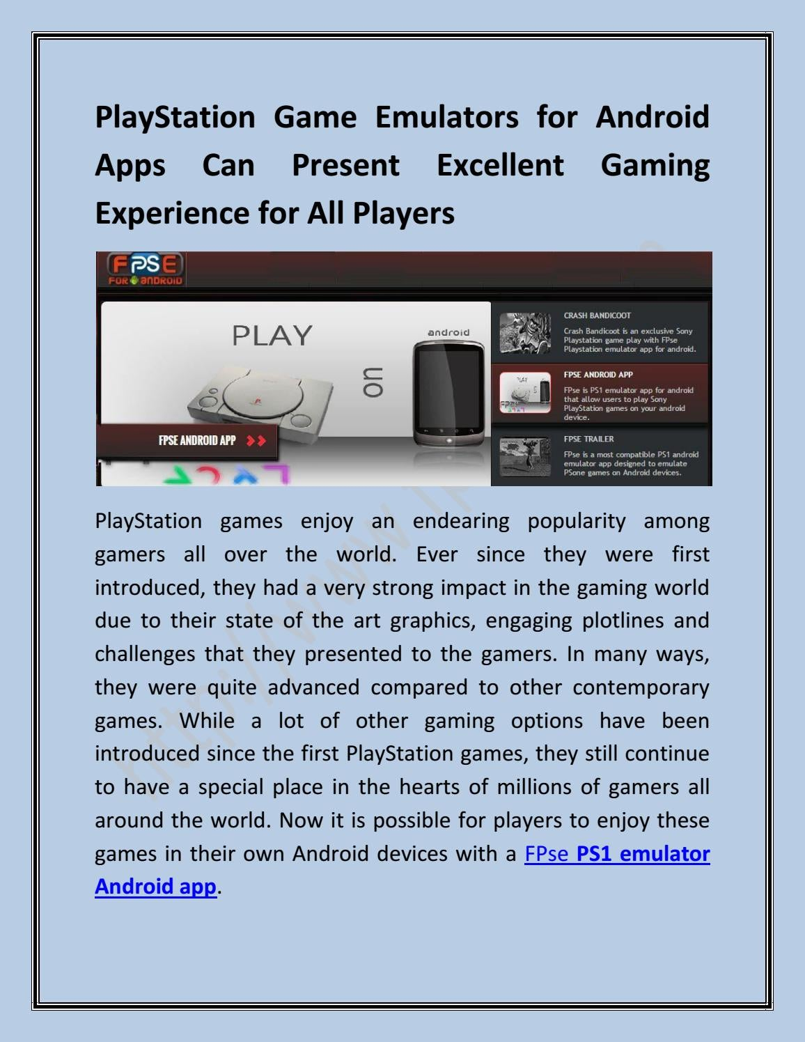 Playstation Game Emulators for Android Apps by FPSe - issuu