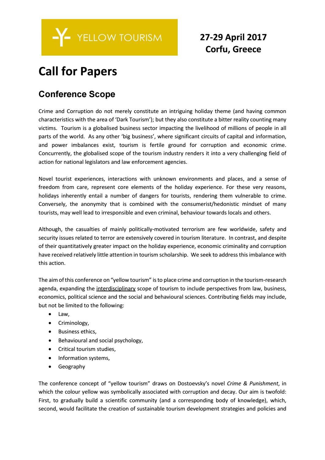 Yellow Tourism Conference 2017- Call for papers by Xristina Tina