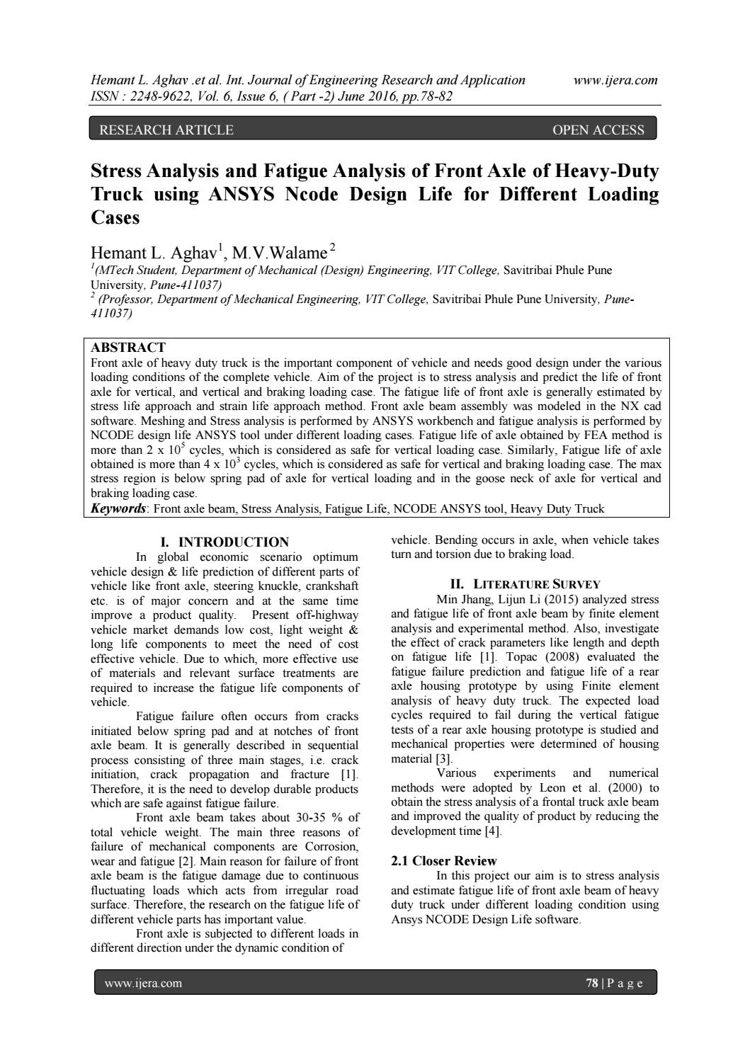 Stress Analysis and Fatigue Analysis of Front Axle of Heavy-Duty