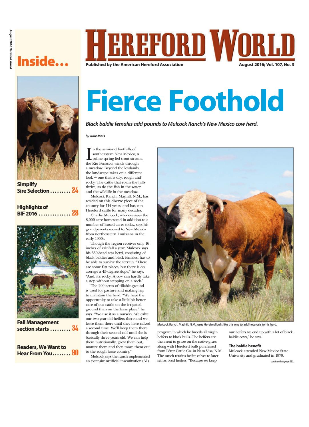 August 2016 Hereford World by American Hereford Association and ...