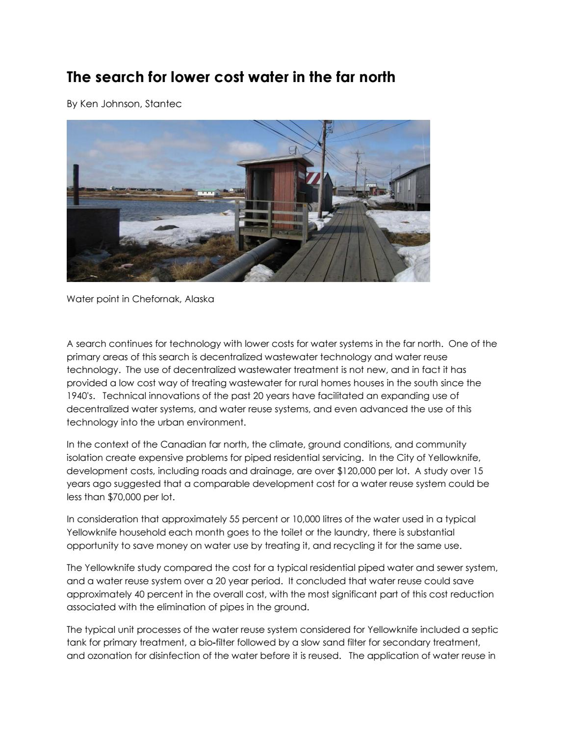 The search for lower cost water in the far north by Kenneth
