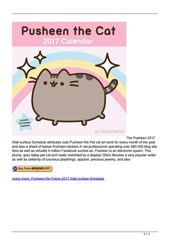 The Pusheen 2017 Wall Surface Schedule Attributes Cute Pusheen The Pet Cat  Art Work For Every Month Of The Year And Also A Sheet Of Twelve Pusheen  Stickers.