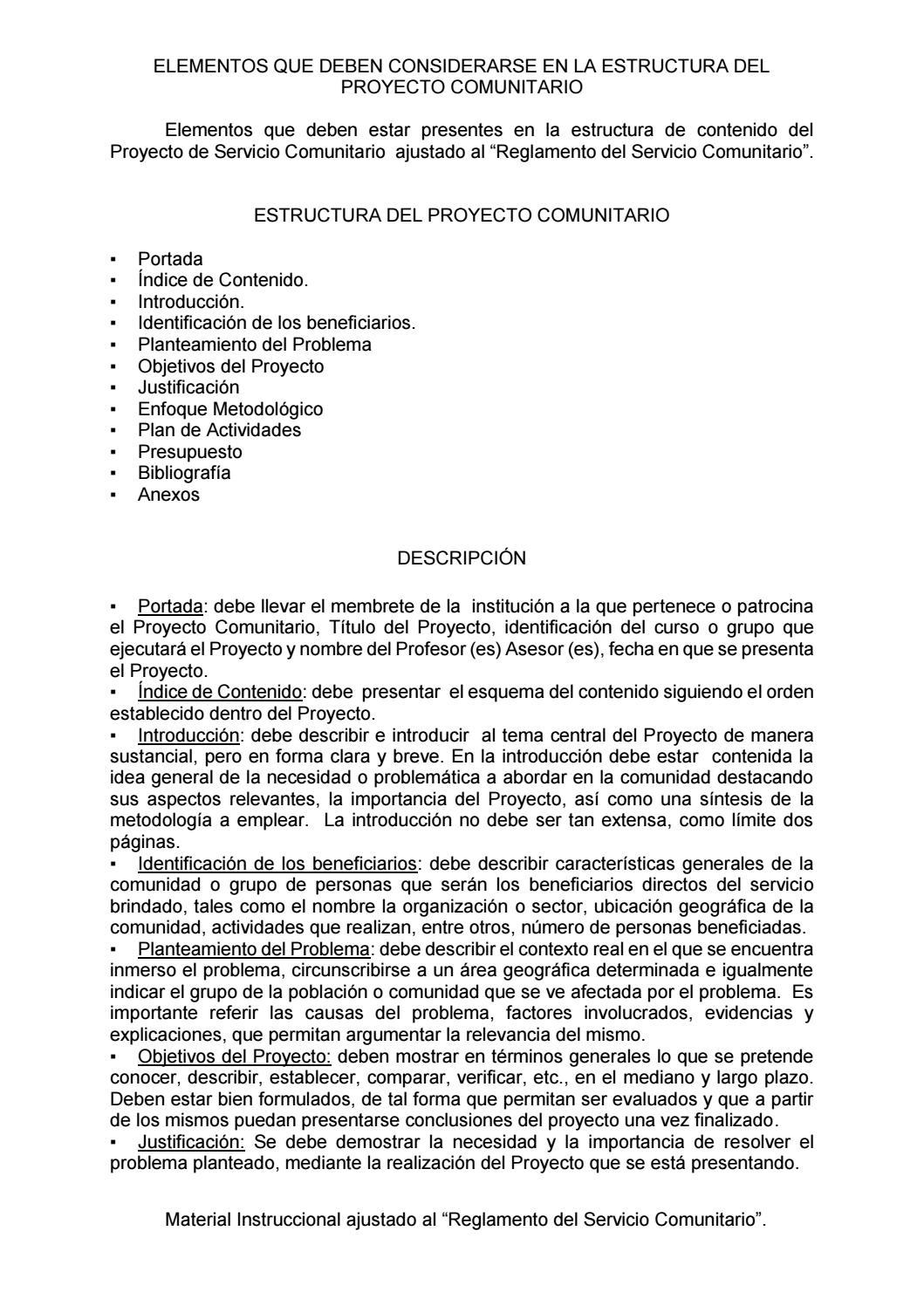 Estructura Proyecto Comunitario Pc By Profesanabria Issuu