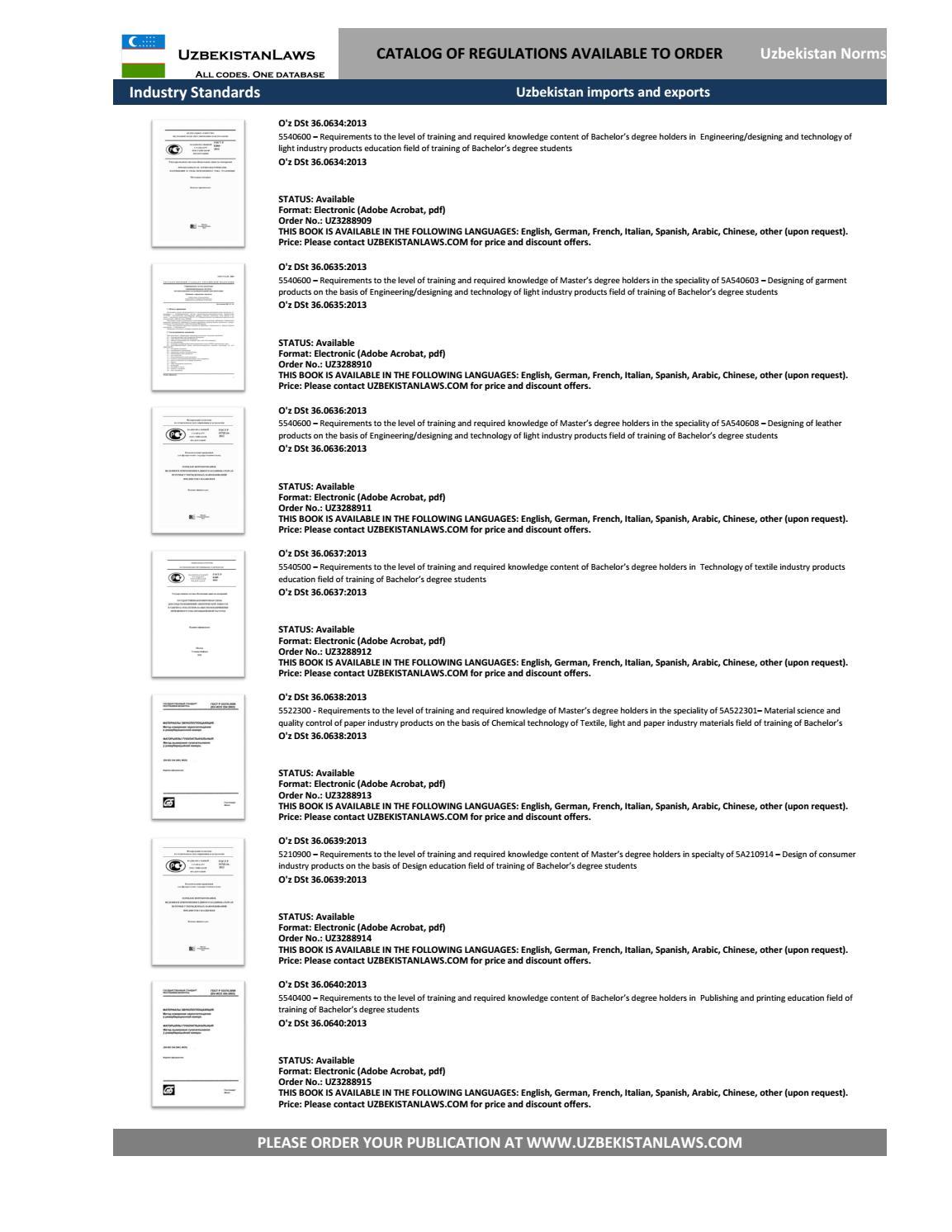 Uzbekistan gesetze , regulations catalog, translated (english