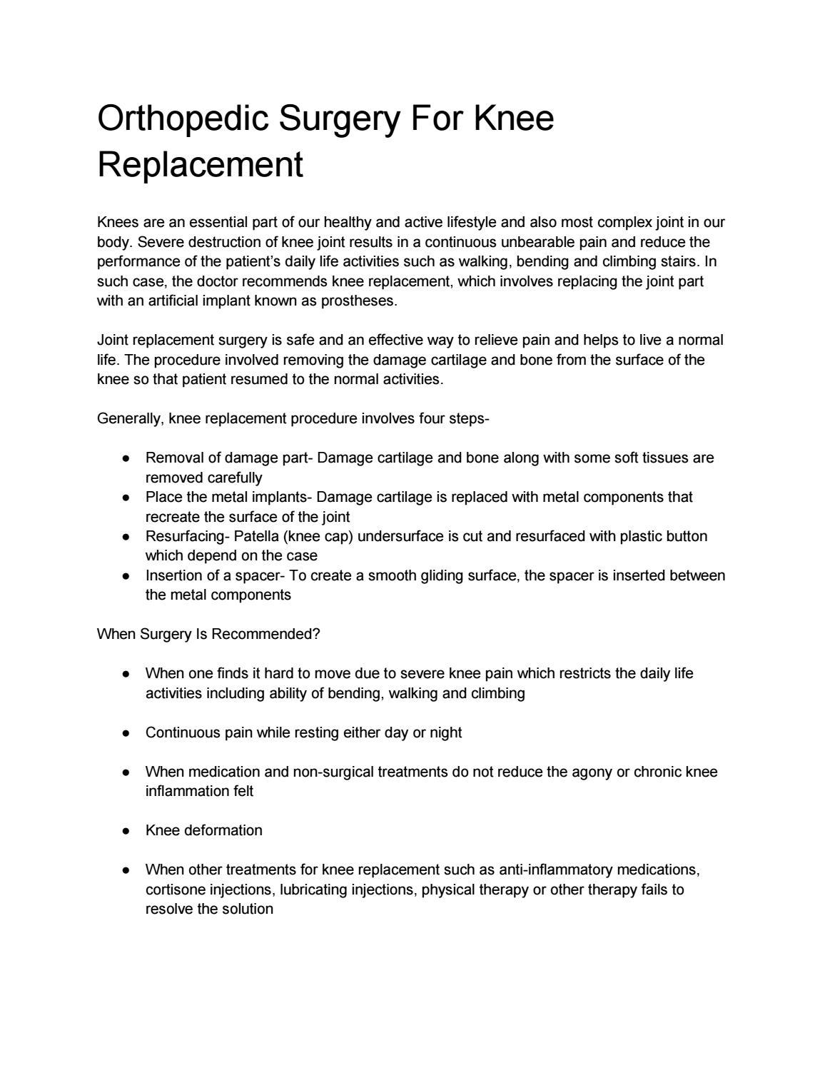 Orthopedic Surgery For Kneereplacement by Harishjay - issuu