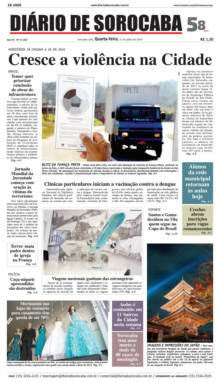 03233c165013b Edição de 27 de julho de 2016 by DIÁRIO DE SOROCABA - issuu