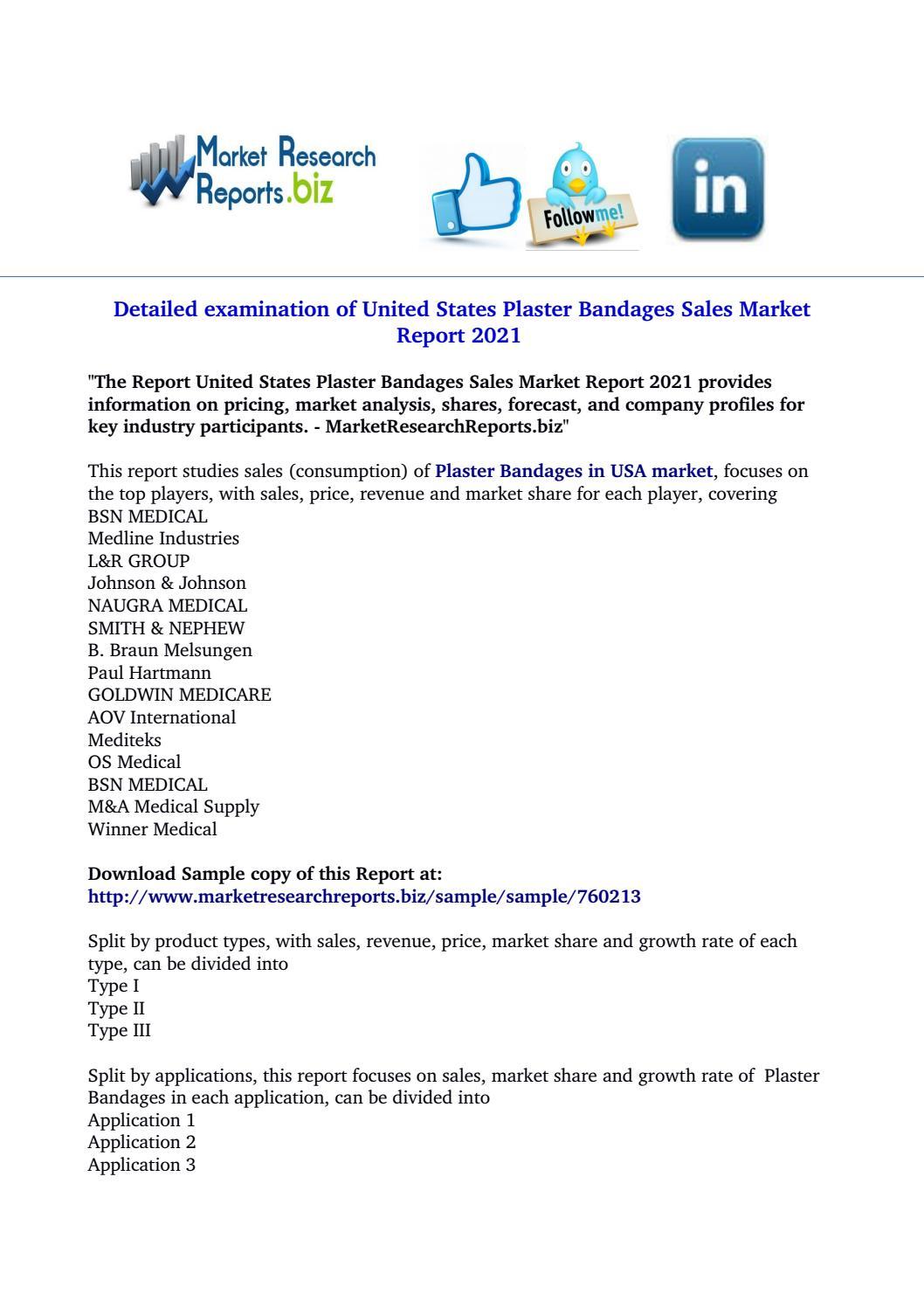 United states plaster bandages sales market report 2021 by roshani