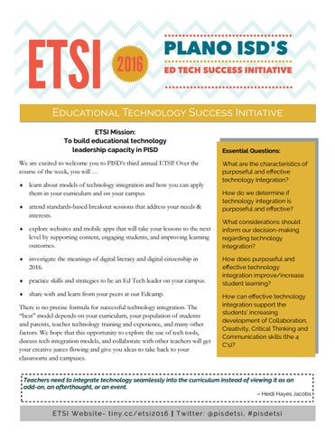 ETSI Brochure 2016 by Plano ISD - issuu