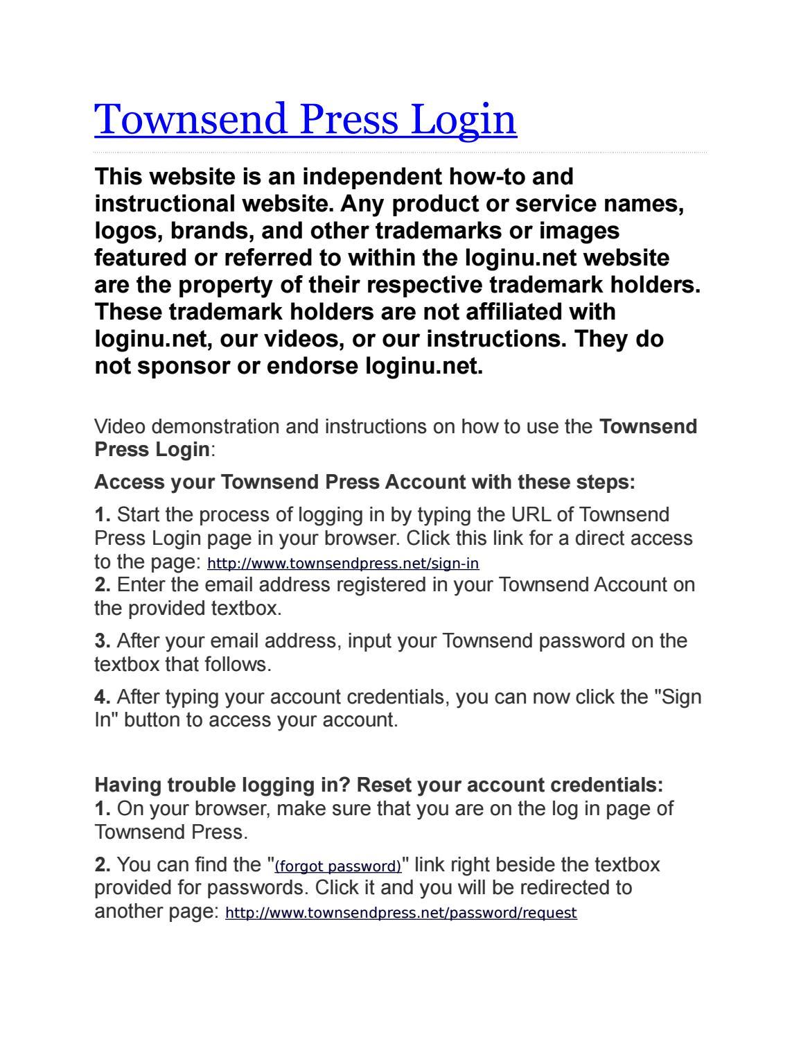 townsendpress.net login