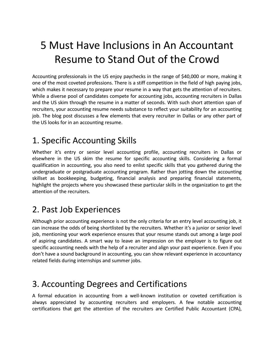 5 Must Have Inclusions In An Accountant Resume To Stand Out Of The