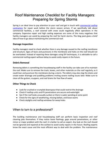Roof Maintenance Checklist For Facility Managers Preparing For Spring Storms By Brad Sanders Issuu