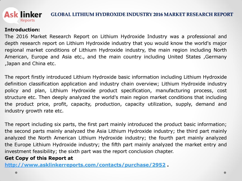 Global Lithium Hydroxide Market Supply, Sales, Demand