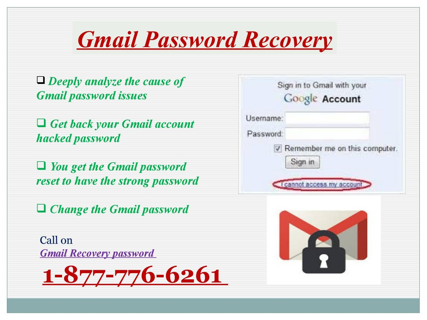 Gmail Recovery password 1-877-776-6261for account safety by