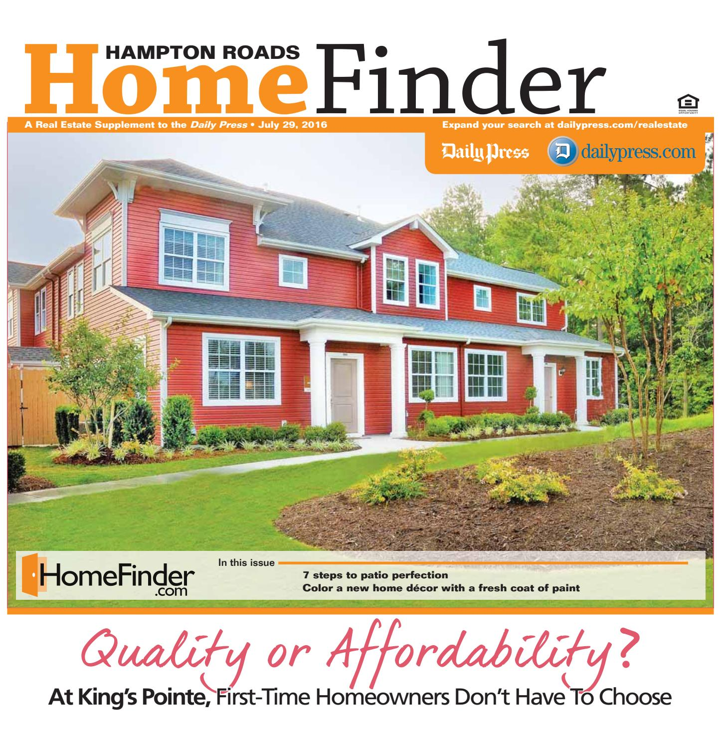 Home Finder For Rent: July 29, 2016 By Daily Press Media Group