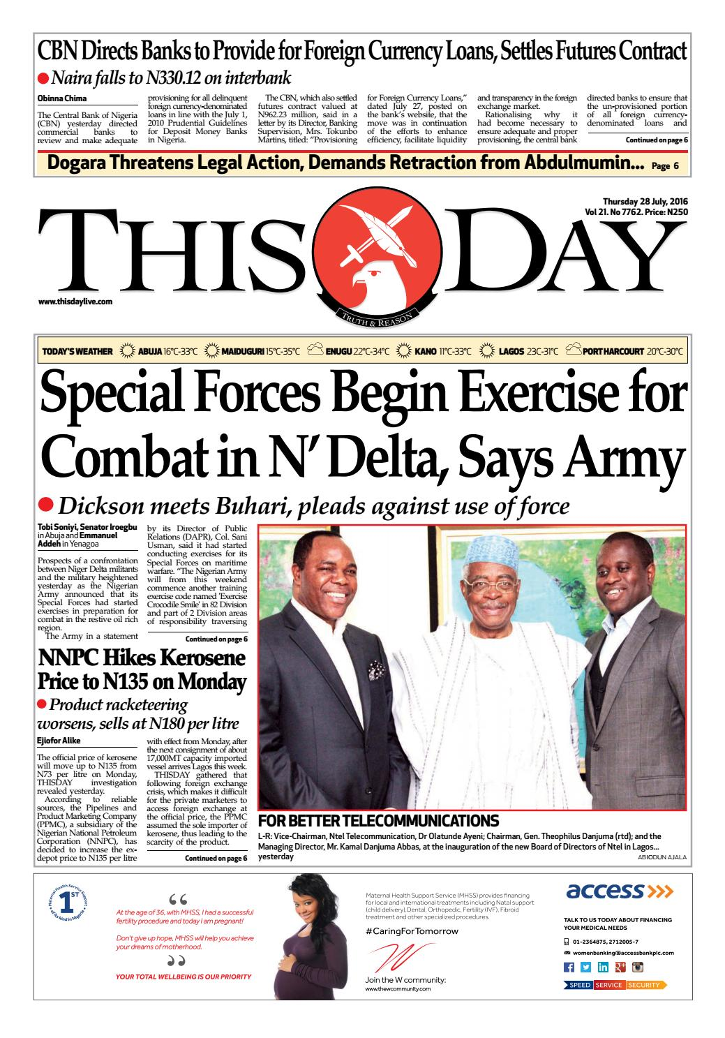 how to make a letter thursday 28th july 2016 by thisday newspapers ltd issuu 22324 | page 1