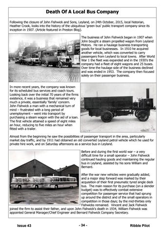 Of A Local Bus Company Following The Closure John Fishwick And Sons Leyland On 24th October 2017 Historian Heather Crook Looks Into