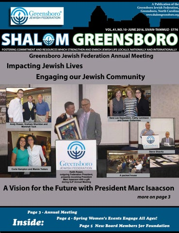 Shalom Greensboro June/July 2016 by Greensboro Jewish Federation - issuu
