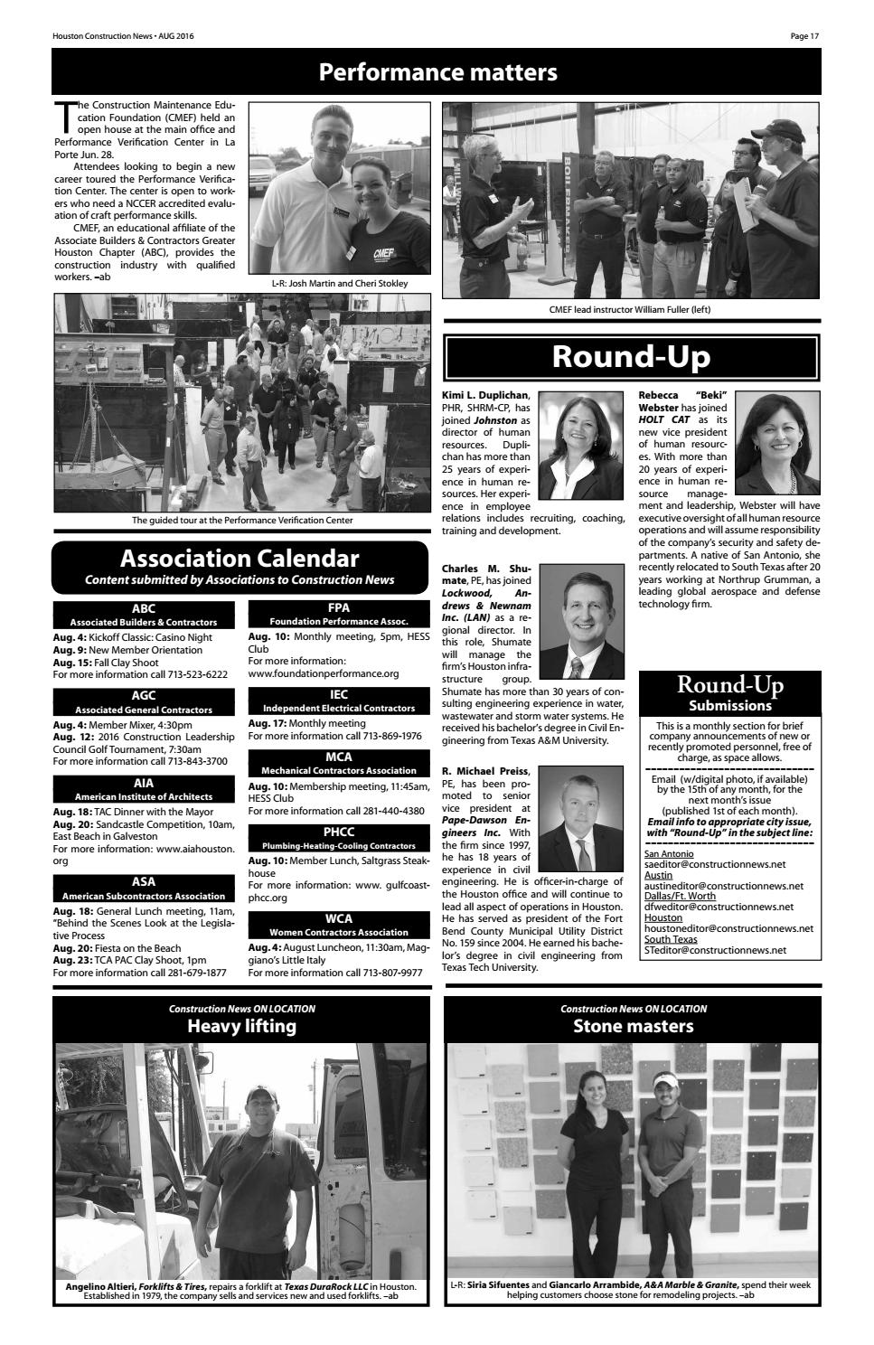 Houston Construction News August 2016 by Construction News