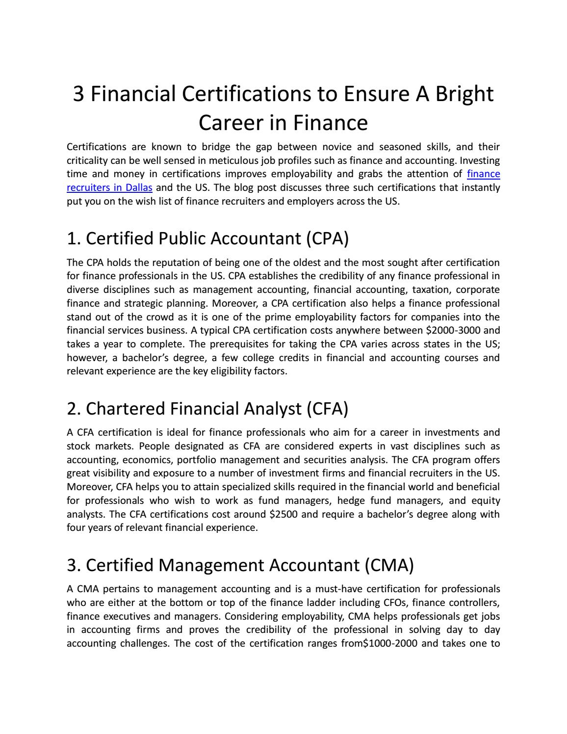 3 Financial Certifications To Ensure A Bright Career In Finance By