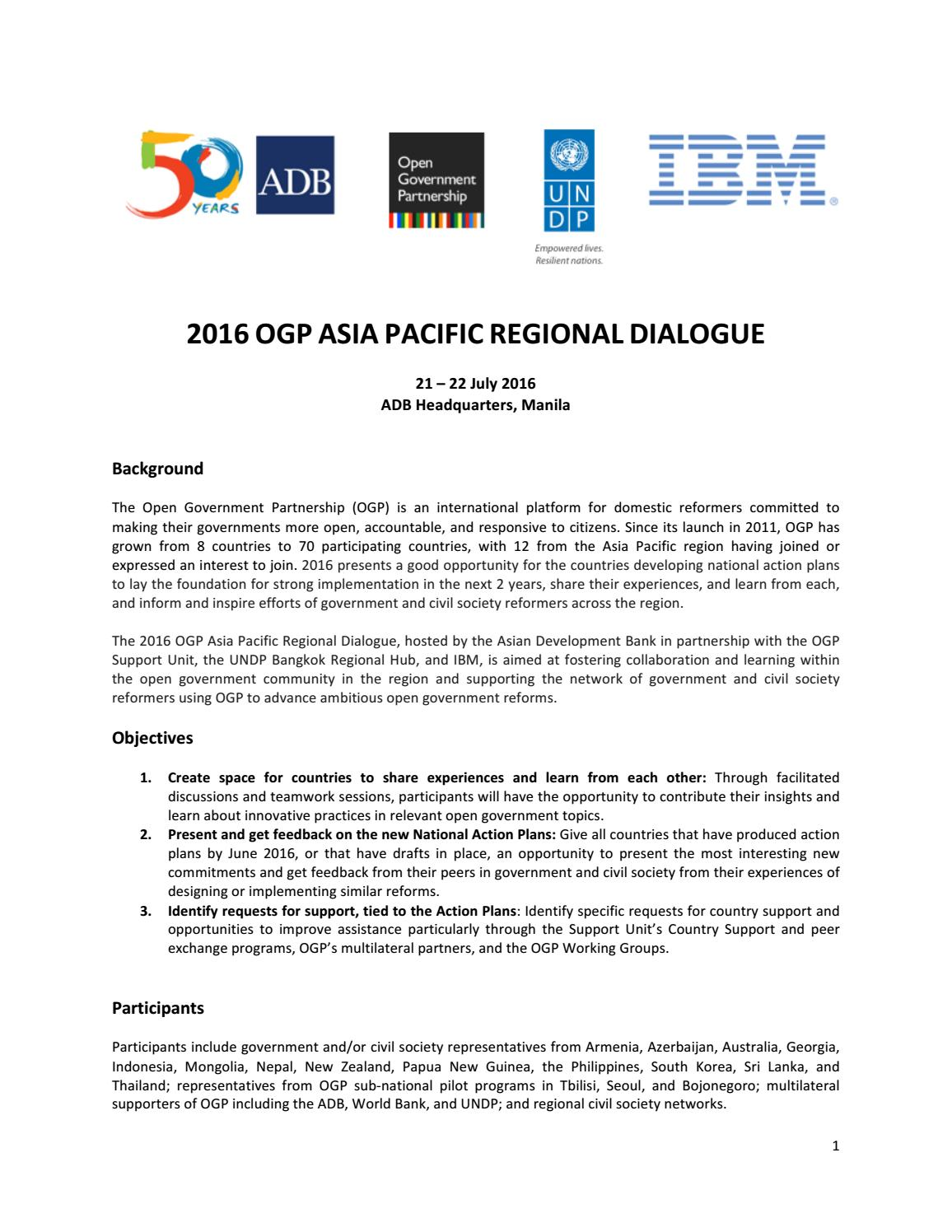 The world bank sl a bangkok - 2016 Ogp Asia Pacific Regional Dialogue Agenda By Undp In Asia And The Pacific Issuu